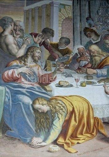 Unbekannter Künstler: Maria Magdalena salbt die Füsse Christis.