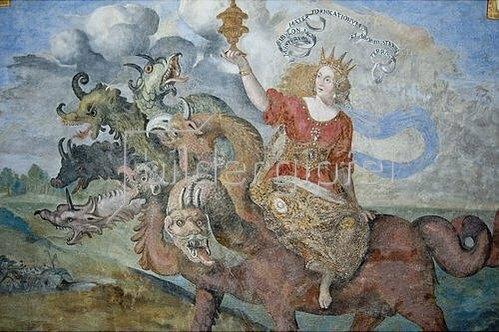 Lombardei Cremona Anonym: Apokalypse - babylonische Hure reitet auf dem siebenköpfigen Drachen Apk 14,8