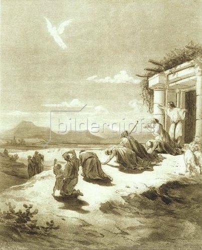 Gustave Doré: Die Familie des Tobit Tobias sieht den Engel Raphael am Himmel entschwinden.