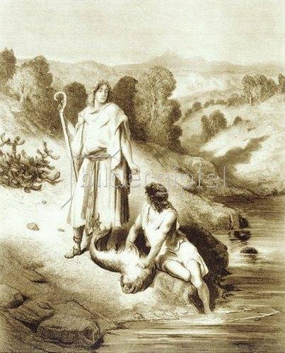 Gustave Doré: Tobit Tobias und der Erzengel Raphael am Fluss Tirgris.