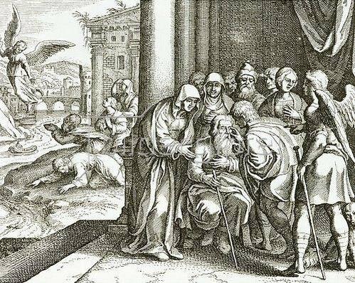 Matthäus Merian d.Ä.: Die Rückkehr des Tobias Tobit und Heilung seines Vaters durch Fischgalle. Um 1625