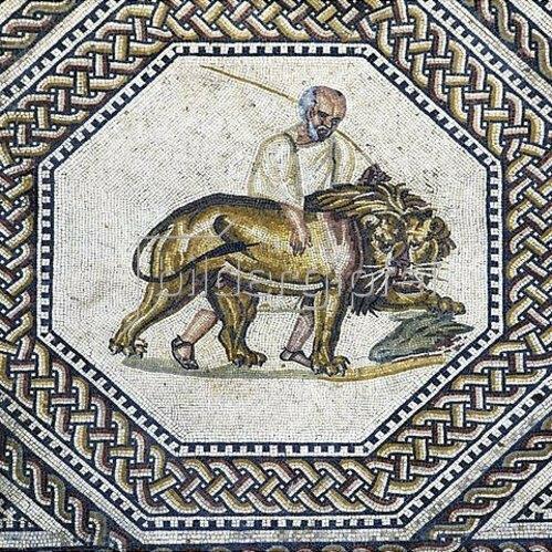 Römisch: Löwe mit Wärter. Fußbodenmosaik