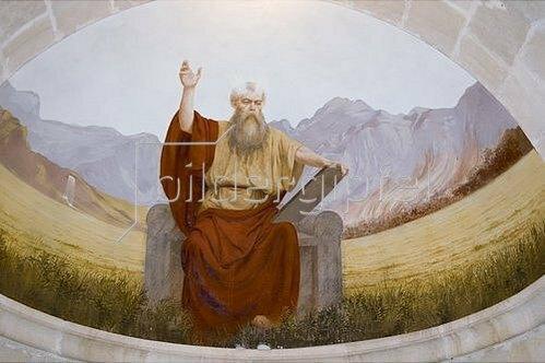 Unbekannter Künstler: Moses mit den Gesetzestafeln.