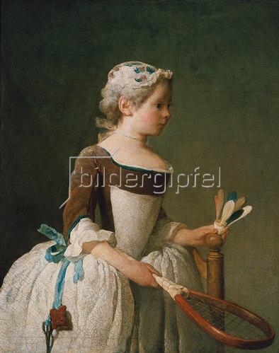 Jean-Baptiste Siméon Chardin: Junges Mädchen beim Federballspiel.
