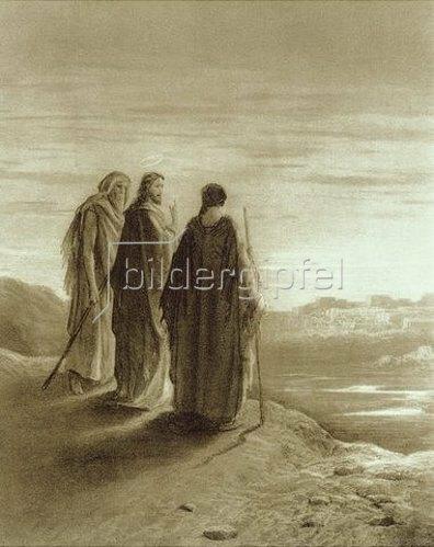 Gustave Doré: Christus mit den zwei Jüngern auf ihrem Weg in die Stadt Emmaus.