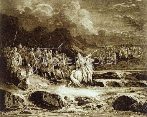 Gustave Doré: Judas Makkabäus verfolgt den syrischen Feldherrn Timotheus.