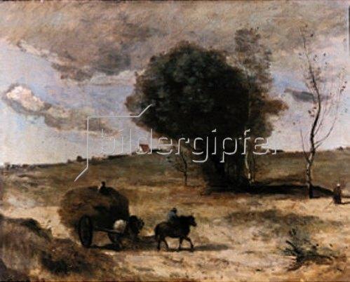 Jean-Baptiste Camille Corot: Der kleine Wagen in den Dünen. Um 1865.