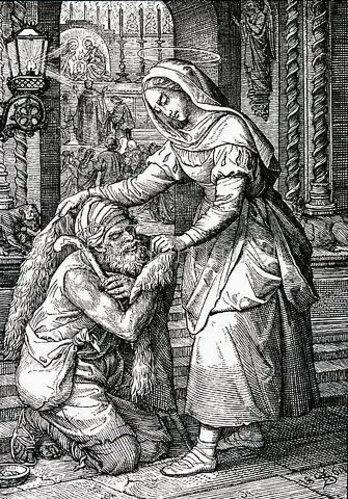 Unbekannter Künstler: Die hl. Zita von Monsagrati betreut als Dienstmagd Arme und Kranke. Um 1900