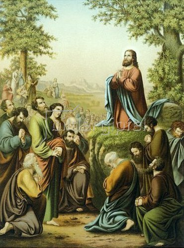 Unbekannter Künstler: Christus lehrt das Vater unser, Alliolibibel. Um 1900