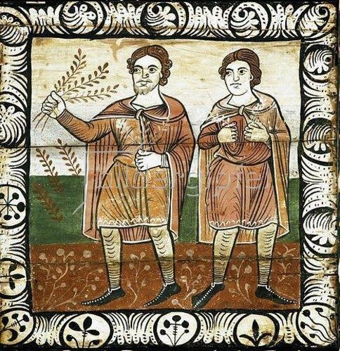 Unbekannter Künstler: Jubelnde Menschen beim Einzug Christi in Jerusalem. 1109-14