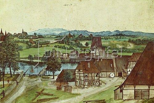 Albrecht Dürer: Die Drahtziehmühle. 1494.