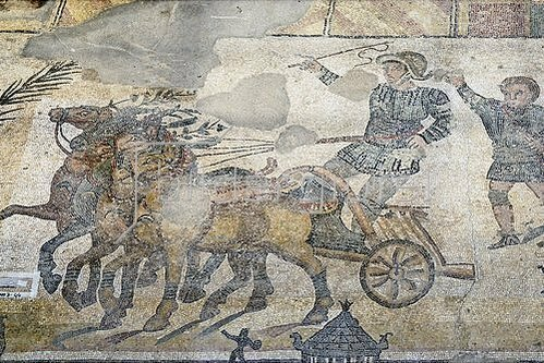 Unbekannter Künstler: Wagenrennen. Mosaikfußboden