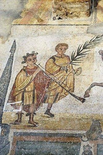 Unbekannter Künstler: Musiker und Mann mit Palmzweig. Mosaikfußboden