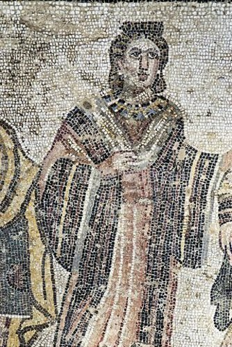 Unbekannter Künstler: Vornehme Dame. Mosaikfußboden