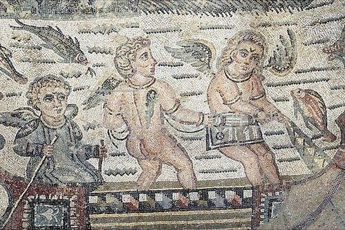 Unbekannter Künstler: Fischende Putten in einem Boot. Mosaikfußboden