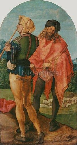Albrecht Dürer: Jabach-Altar: Pfeifer und Trommler. 1503/05