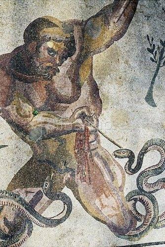 Unbekannter Künstler: Gigant, von einem Giftpfeil getroffen. Mosaikfußboden
