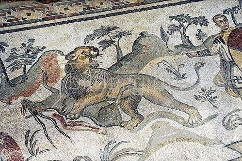 Unbekannter Künstler: Jagdender Löwe. Mosaikfußboden