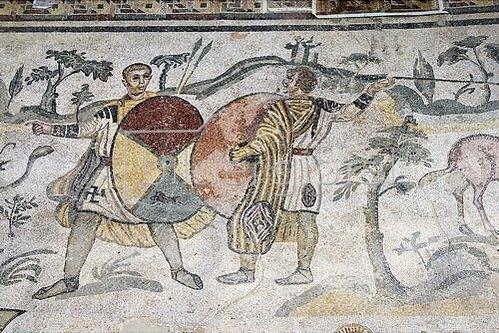 Unbekannter Künstler: Zweikampf. Mosaikfußboden