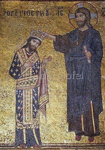 Byzantinisch: Krönung des Normannenkönigs Roger II. durch Christus
