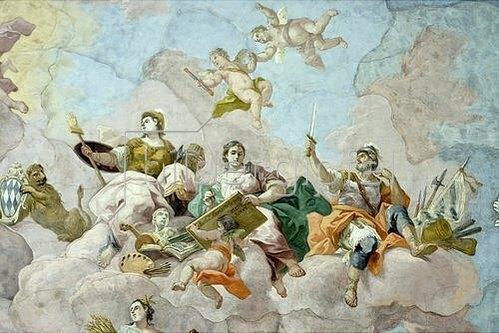 Bartholomäus Altomonte: Allegorie der Kriegskunst mit einem Selbstporträt und Signatur Altomontes (Detail eines Deckengemäldes). 1773