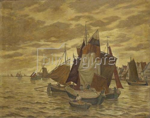 Johnna Dill-Malburg: Holländische Küstenlandschaft mit Segelbooten.