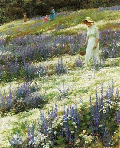 Charles Courtney Curran: Auf einer Blumenwiese. 1914