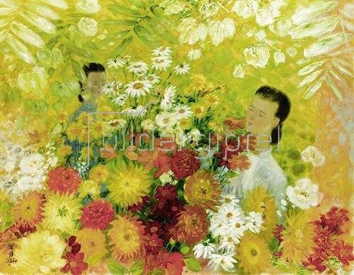 Unbekannter Künstler: Zwei Mädchen mit Blumen.