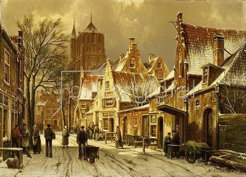 Willem Koekkoek: Winterliche Straßenszene.