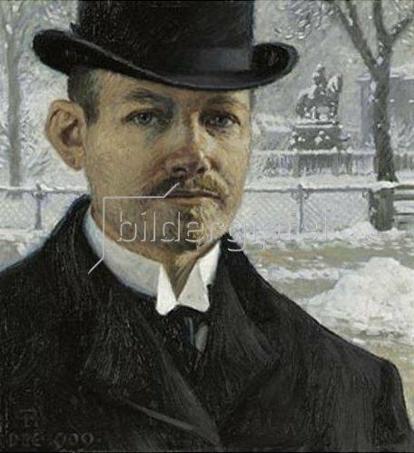 Paul Fischer: Selbstbildnis in Nytrov im Winter. 1909