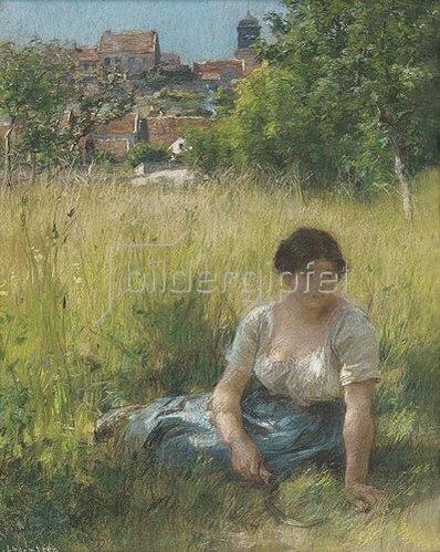 Leon Augustin Lhermitte: Rastendes Mädchen mit Sichel im Schatten.