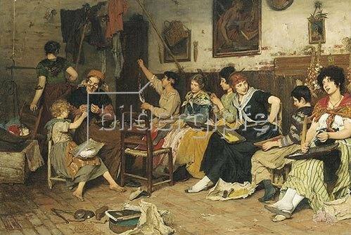 Cecil van Haanen: Beim Perlen aufziehen. 1876