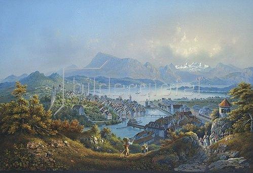 Louis Bleuler: Ansicht von Luzern mit dem Vierwaldstättersee.
