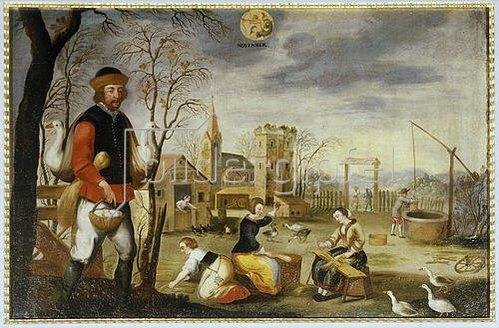 Flachsgewinnung und Martinsgans, der Monat November. Um 1690