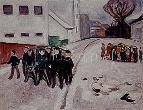 Edvard Munch: Dorfstraße mit brennendem Haus.