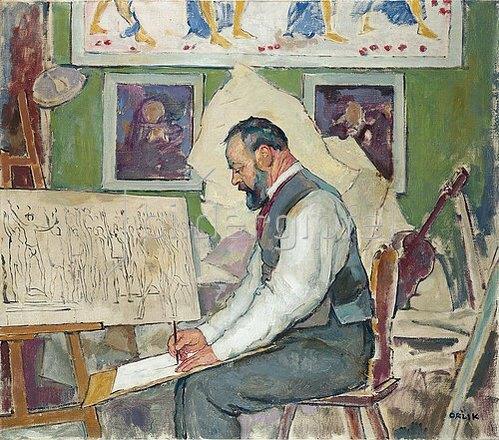 Emil Orlik: Ferdinand Hodler beim Entwurf der Wandbilder für das Rathaus Hannover. 1911.