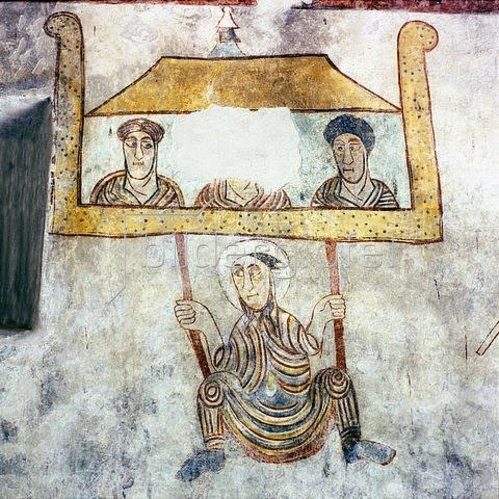 Hl. Prokulus wird auf der Flucht über d. Stadtmauer von Verona abgeseilt. Um 770