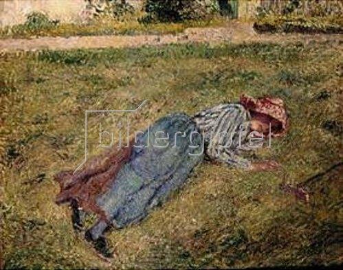 Camille Pissarro: Liegendes Mädchen am Rasenhang. 1882.