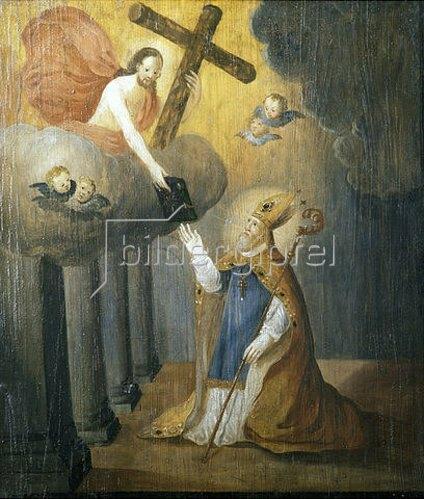 Nikolauslegende: der Heilige erhält das Neue Testament von Christus (Emporenbrüstung). Um 1675