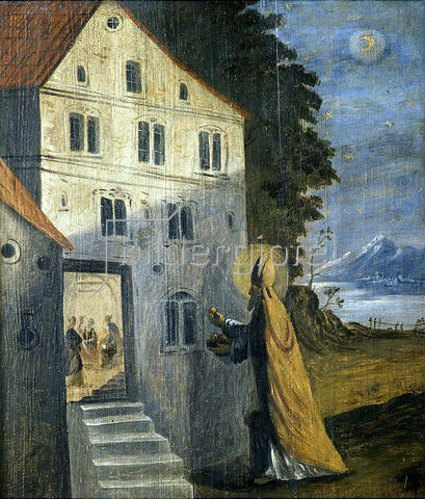 Nikolauslegende: der Heilige schenkt drei armen Mädchen goldene Äpfel (Emporenbrüstung). Um 1675