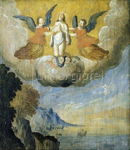 Nikolauslegende: der Heilige wird nach seinem Tod von Engeln in den Himmel getragen (Emporenbrüstung). Um 1675