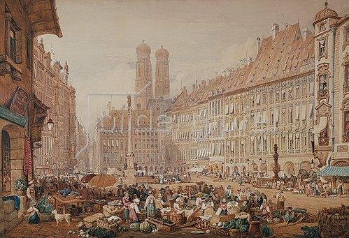 Samuel Prout: Der Schrannenplatz in München.