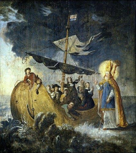 Nikolauslegende: der Heilige als Patron der Seeleute (Emporenbrüstung). Um 1675