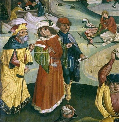 Jan Pollak: Steinigung des Hl. Stephanus, jüdische Schriftgelehrte, im Hintergrund bewacht Saulus die Kleider. 1489