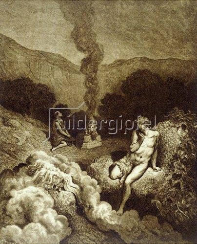 Gustave Doré: Kain und Abel bringen ein Opfer dar. 1866