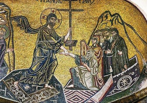 Höllenfahrt Christi (Descensus Christi ad Inferos), vor ihm Adam und Eva. Um 1050
