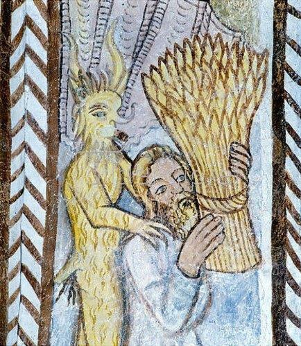 Unbekannter Künstler: Kain opfert eine Getreidegarbe. Um 1380