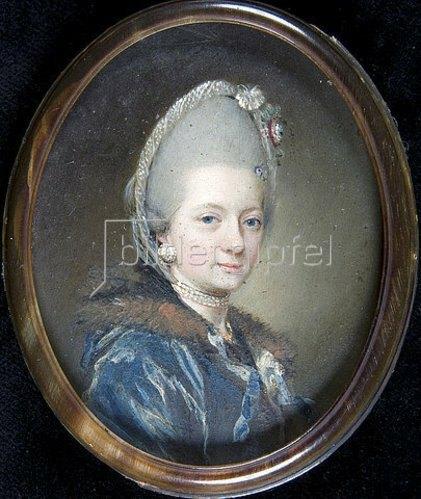 Unbekannter Miniaturmaler: Franziska Theresia Reichsgräfin von Hohenheim, geb. Freiin von Bernerdin, geschiedene Freifrau Leutrum von Ertingen. Um 1772