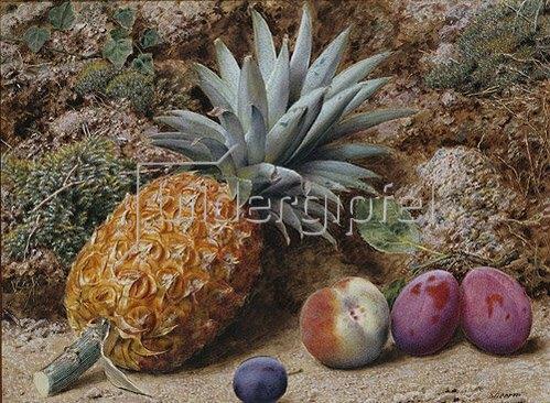 John Sherrin: Eine Ananas, ein Pfirsich und Pflaumen auf moosbewachsener Erde.