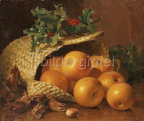 Eloise Harriet Stannard: Stillleben mit Äpfeln, Haselnüssen und Stechpalme. 1898